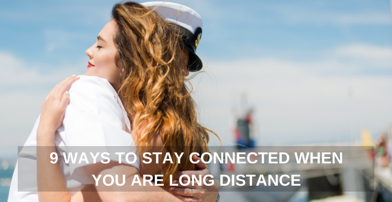long distance couple hugging